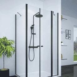 מקלחון פינתי קיר צד ו2 דלתות INOUT שחור