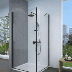 מקלחון שחור פינתי דופן קבועה ודלת פתיחה החוצה