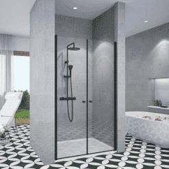 מקלחון פרזול שחור חזית 2 דלתות פנים וחוץ שתי דלתות נפתח פנימה והחוצה