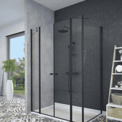 מקלחון פרזול שחור פינתי קיר צד וחזית 2 דפנות ו 2- דלתות נפתחות פנימה והחוצה