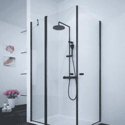 מקלחון שחור פינתי דופן קבועה ושתי דלתות נפתחות פנים-חוץ