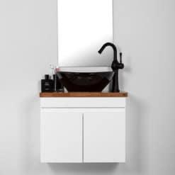 ארון אמבטיה עומק 30 סמ צר רוחב 60 סמ תלוי דגם יהלום לבן