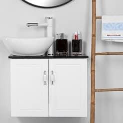 ארון אמבטיה עומק 30 סמ רוחב 60 סמ תלוי דגם פרובנס לבן